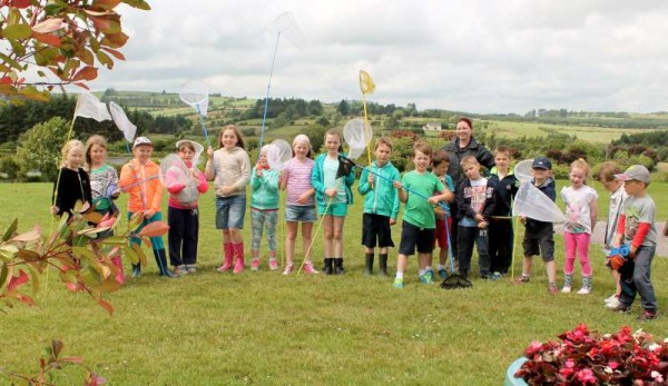 Education Officer, Lorna O'Mahony pictured with some of the enthusiastic young participants attending Week One of the superb Wild Summer Camp at Millstreet Country Park.  Click on the images to enlarge.  (S.R.)