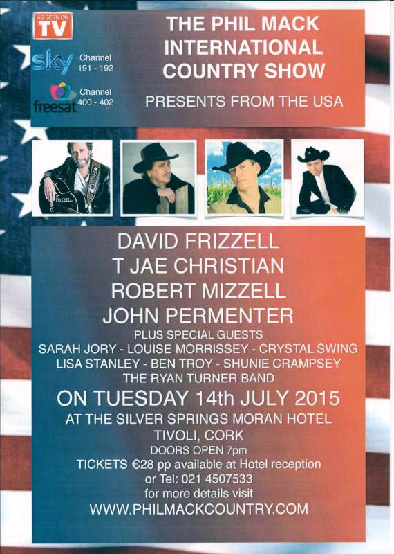 phil mack country show at cork's silver springs hotel on 14th july