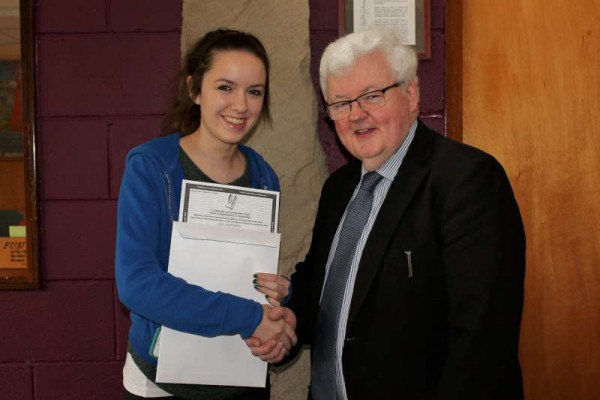 1.Student Edel Breen with Principal, Pat Pigott receiving her Leaving Cert. Results at Millstreet Community School on Wednesday morning.