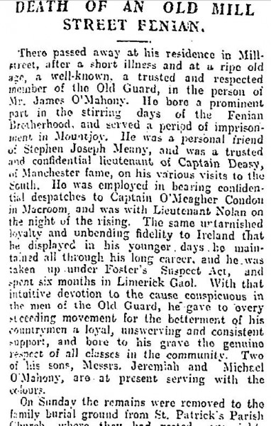 1916-04-24 Death of an old Millstreet Fenian 01