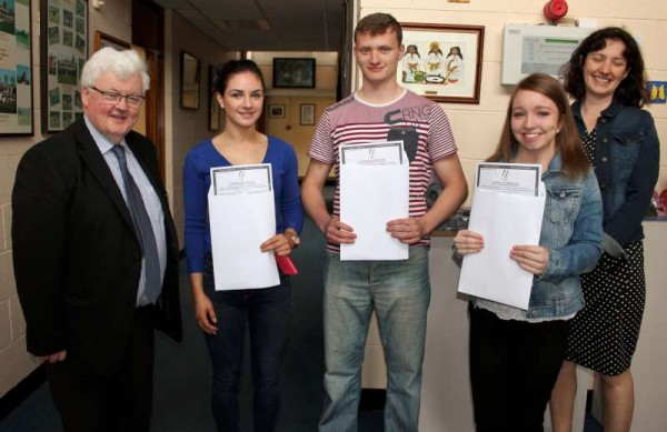 3.Students receiving their Leaving Cert. Results at Millstreet Community School on Wednesday morning.  From left:  Principal, Pat Pigott, Siobhán Sheehan, Paul O'Connor, Muireann Buckley and Deputy Principal, Frances Moynihan.