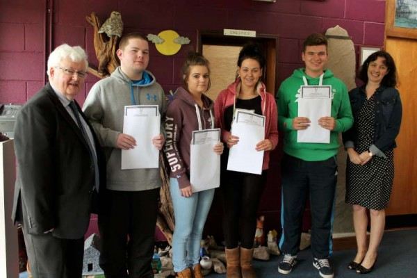 tudents receiving their Leaving Cert. Results at Millstreet Community School on Wednesday morning.   From left:  Principal, Pat Pigott, Kieran Casey, Chelsea Byrne, Nadine Scott, Darragh Hickey and Deputy Principal, Frances Moynihan.