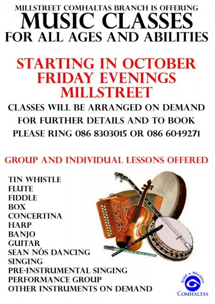 2015-09-04 Millstreet Comhaltas - Music Classes Flier_-1000