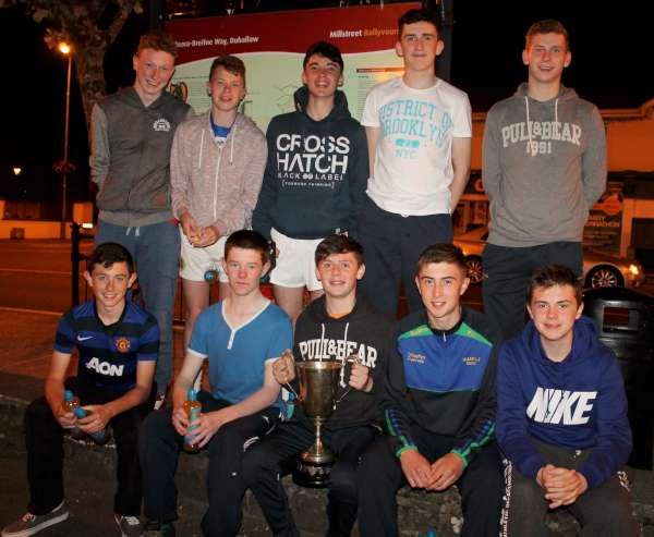 Members of the superbly victorious Under-16 Duarigle Gaels Team celebrate on Monday night following their victory over Charleville.  Click on the image to enlarge.  (S.R.)