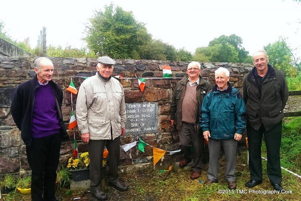 2015-09-20 At the commemoration Plaque of the Drishane train ambush of 1921 - , Tom Meaney, Jerry Lehane, ,and Gerdie Buckley