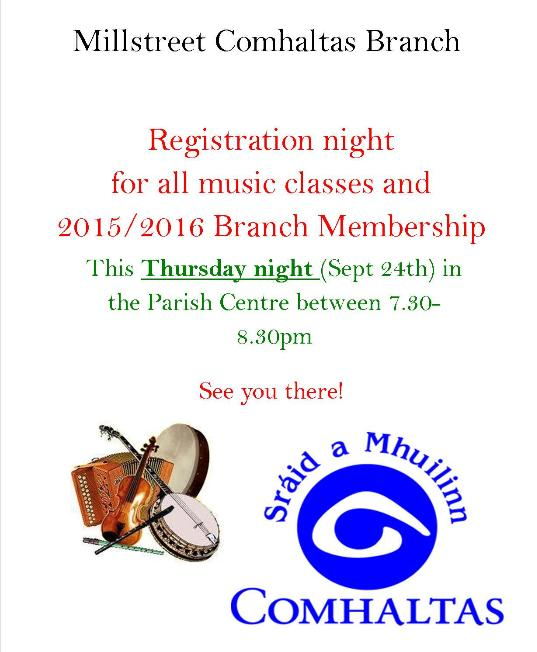 2015-09-24 Comhaltas registration night - poster