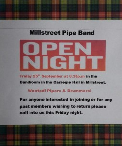 2015-09-25 Millstreet Pipe Band Open Night - poster-800