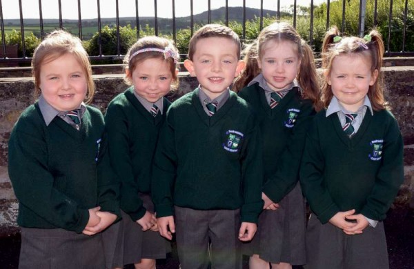 4 Girls & a Boy! The Kilcorney N.S. Junior Infants Class 2015, Leah Murphy, Katie Nolan, Shane O Sullivan, Ayda Hickey & Siobhan O Regan on their 1st day at school.-800