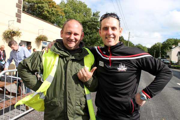 Danny Creedon congratulating Jimmy Murphy (on right) as Coordinator of a magnificent organising Team on the hugely successful 2015 Fundraising Carriganima Annual Run/Walk on Saturday, 12th Sept.. Click on the images to enlarge. (S.R.)
