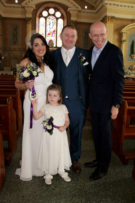 The wonderful Wedding of Pearl Lehane & Glenn Twomey took place in St. Patrick's Church, Millstreet on Sat. 5th Sept. 2015. Fr. James McSweeney who concelebrated the Mass is seen with the Happy Couple.