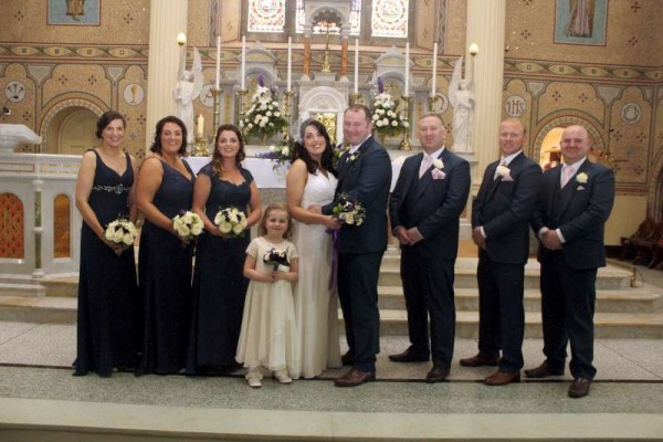 Best Man Douglas Twomey, Groomsmen Mickey Hartnett and Trevor Heffernan Chief Bridesmaid Jeanette Collins Bridesmaids Jeanne Barrett and Rose O'Connell Flowergirl Ruby Lehane. Many thanks to Fr. James McSweeney for the superb picture of Saturday's Wedding. (S.R.)
