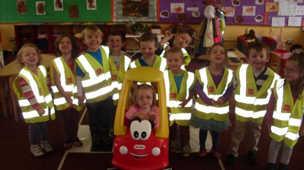 The children at Stepping Stones Pre-School, Derinagree, practicing road safety for Beep Beep Day, RSA's  road safety day for children.