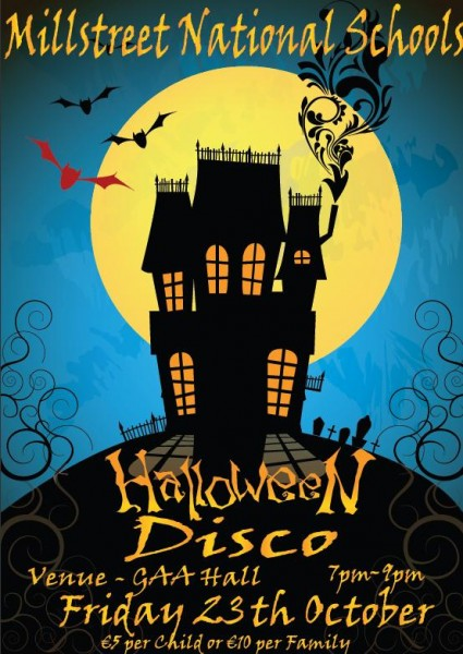 2015-10-23 Millstreet National Schools - Halloween Disco- poster