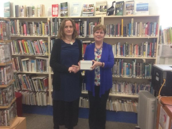 2015-10-28 Breda O' Leary of Millstreet Library receiving her long service award from Eileen O' Brien, County Librarian Cork County Council