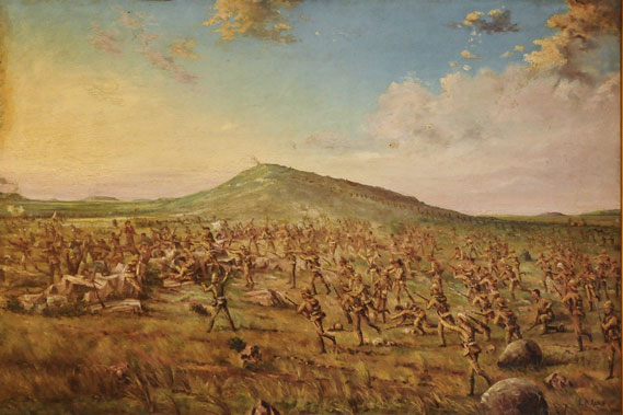 "Remember, men, the eyes of Lancashire are watching you today!"" This depiction of the moment when the South Lancashires swept over the Boer trenches on Pieters Hill was painted by J.A. Lamb, who as a private soldier in the regiment was there. [ref]"
