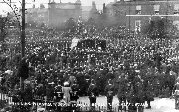 Unveiling of Colonel McCarthy O'Leary's Statue - the Warrington South Lancashire Memorial in 1907 01