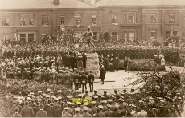 Unveiling of Colonel McCarthy O'Leary's Statue - the Warrington South Lancashire Memorial in 1907 02