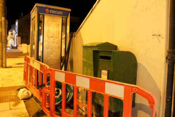 Millstreet's last public phone box is now gone - removed during the current renovation of the footpath in Main Street. The end of an era as mobile phones have become so much part of our lives. Click on the images to enlarge. (S.R.)