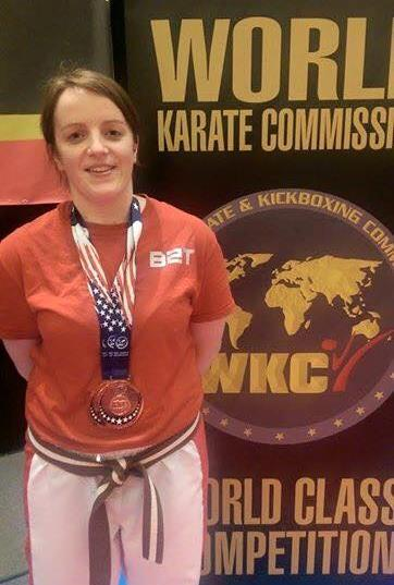2015-11-10 Helen Cooney won doble bronze at the world kickboxing and karate championships in Orlando, Florida