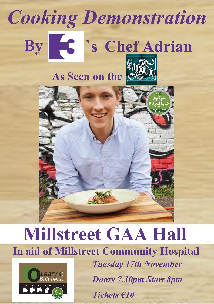 2015-11-17 TV3's Chef Adrian - Christmas cooking demonstration in Millstreet GAA Hall - poster