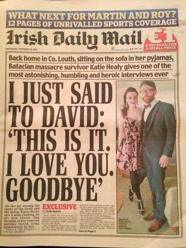 2015-11-18 Front page of the Irish Daily Mail