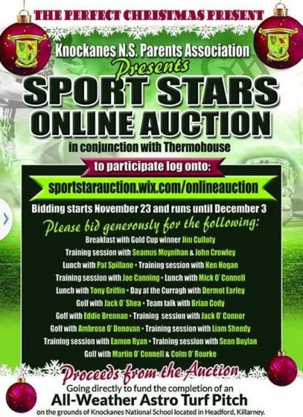 2015-11-29 Knockanes NS - Sports Auction - poster