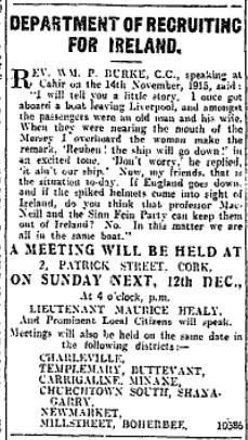 1915-12-12 WWI Recruitment Meeting in Millstreet