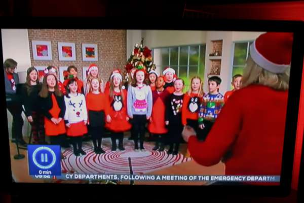 "The wonderfully talented Voiceworks Youth Choir from Cork performed superbly on TV3's ""Ireland AM"" on Tuesday morning 22nd Dec. 2015. Included in this most impressive Choir are two splendid singers - Caryn and Sophie - daughters of Patrick (of Minor Row, Millstreet and Watergrasshill, Cork) and Eva Kelleher. Click on the images to enlarge. (S.R.)"