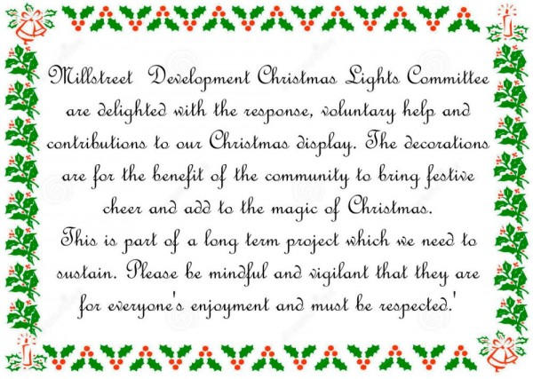 2015-12-03 Christmas Lights Message from Millstreet Development Group