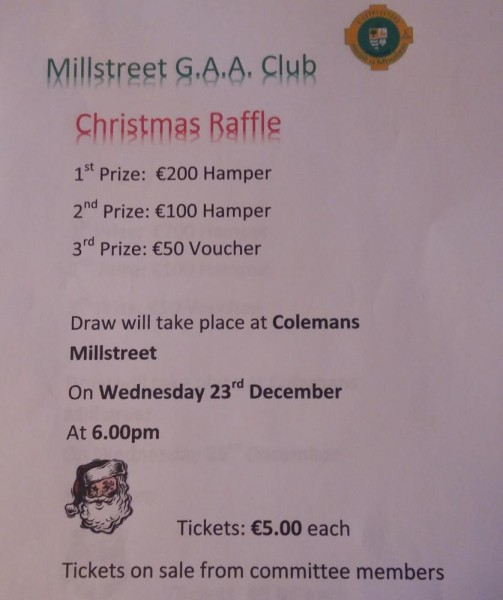 2015-12-13 Millstreet GAA Club - Christmas Raffle - poster