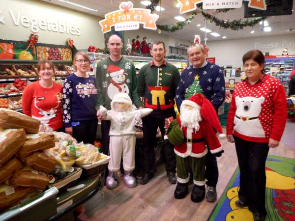 Wonderfully colourful Christmas Jumpers were being worn by the Staff of O'Keeffe's Supervalu today (23rd Dec. 2015).  Pictured are just some of the Staff in the real Christmas spirit.  Click on the image to enlarge.  (S.R.)