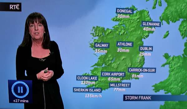 "Millstreet was included in a selection of locations marked on the RTÉ weather chart during the weather forecast on the ""Six-One""  News on Wednesday, 30th Dec. 2015.  Click on the image to enlarge.  (S.R.)"