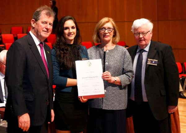 Sincere congratulations to Siobhán Sheean, Minor Row, Millstreet - daughter of Michael and Joan - on being awarded in Limerick on 21st Nov. 2015 one of the highly prestigious JP McManus All-Ireland Scholarships which is based on excellent Leaving Cert. results. Apparently this is the very first time that this Award has been won at Millstreet Community School. Pictured from left: JP McManus, Siobhán Sheehan, Minister of Eduction Jan O'Sullivan, T.S. and Pat Pigott, Principal, Millstreet Communtiy School. Sincere congratulations to Siobhán on receiving such a valuable and richly deserved scholarship. Click on the image to enlarge. (S.R.)