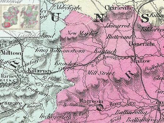 1864 Johnson Map of Ireland - Millstreet area