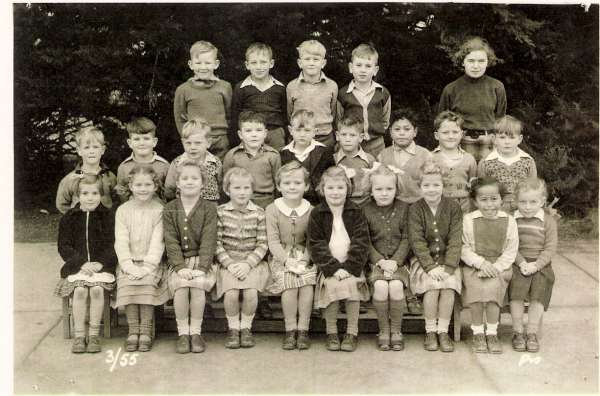 Russell is in the middle row – fourth from the left. I'm in the front row – third from the left and my twin sister Gail, is third from the right.