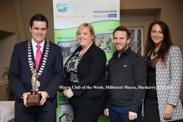 2015-01-09 Millstreet Macra - National Winners of the Creative Speaking - Rebecca Ambrose, Seven O'Riordan, and Katie Guerin with Macra President Seán Finan
