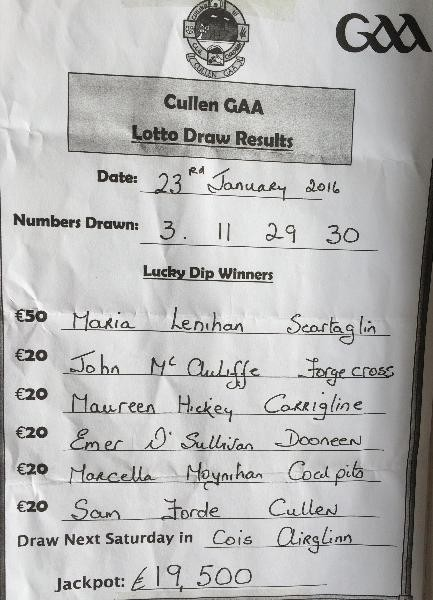 2015-01-24 Cullen GAA lotto results