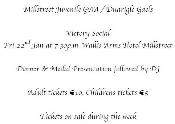 2016-01-22 Millstreet Juvenile GAA Victory Social - poster