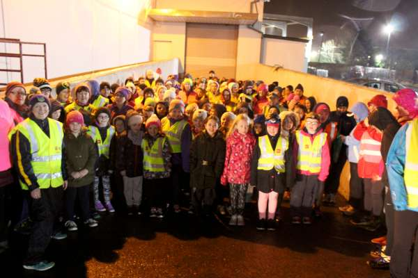 """Operation Transformation"" in Millstreet on Thursday night 21st Jan. 2016 began with great enthusiasm despite the persistent rain - with a huge number of participants. Beginning at Supervalu (one of the main Sponsors) the 5K walk proceeded through the town reaching the Town Park where five rounds of the Park really tested the energy of the dedicated group. All then returned to Supervalu. Click on the images to enlarge. (S.R.)"