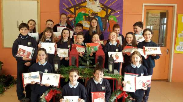 The making of Cards and Scarves for the Simon Community and also in aid of St. Vincent de Paul at Derrinagree N.S. before Christmas was a truly inspiring project of which all can feel so very proud. Sincere congratulations to All involved at Derrinagree N.S.. We thank Pam Thornton for the excellent picture. Click on the image to enlarge.