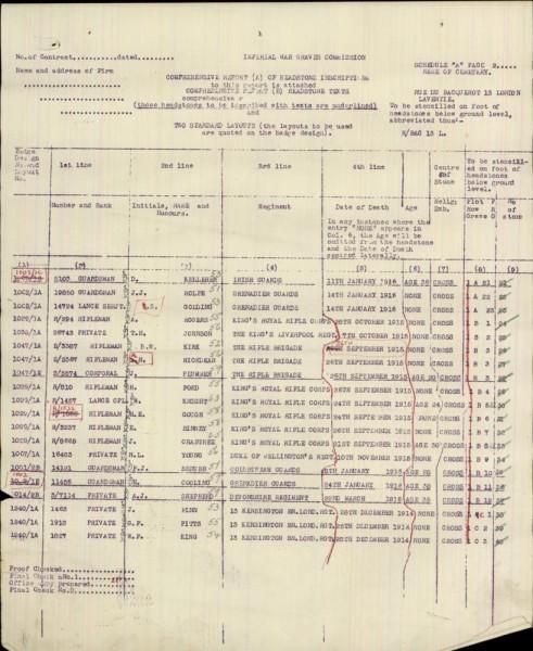Denis Kelleher - war graves commission 01 - inscription report