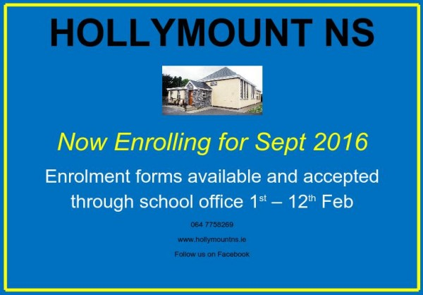 Hollymount NS Enrolement 2016 - poster