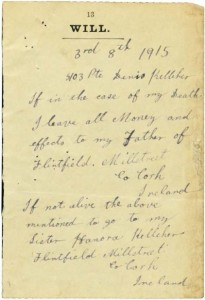 Last will of Denis Kelleher, Flintfield. WWI 1916-01-12 a