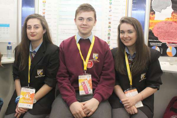 Lauryn Kiely, Jamie O'Connor and Dervla Murphy with their project on 'A county by county happiness index for Irish teens.
