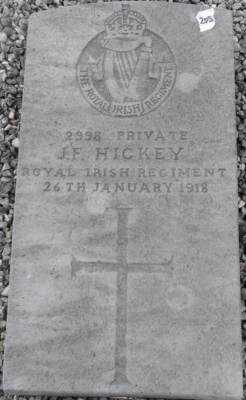 Private J.F. Hickey 26 January 1918 - gravestone in Millstreet Church Graveyard_