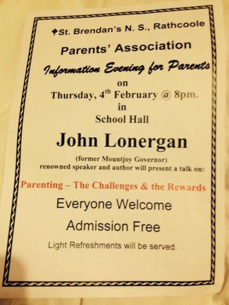 2016-02-04 John Lonergan talk in Rathcoole NS - poster