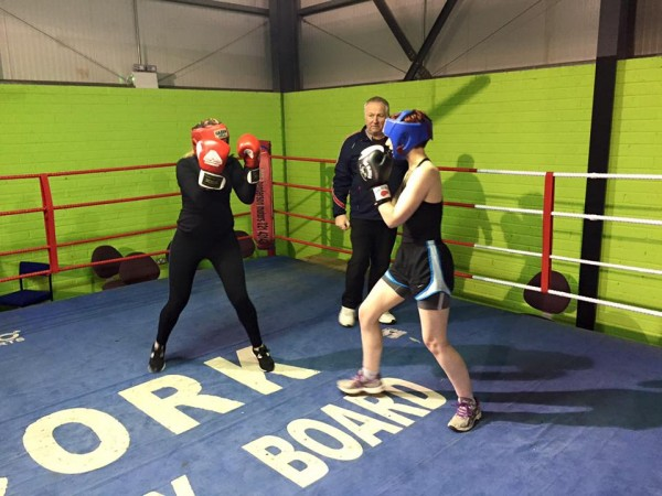 2016-02-09 Sharon O'Keeffe (right) training for the Big Heart Fight Night, under the watchful eye of Dan Lane, Rylane