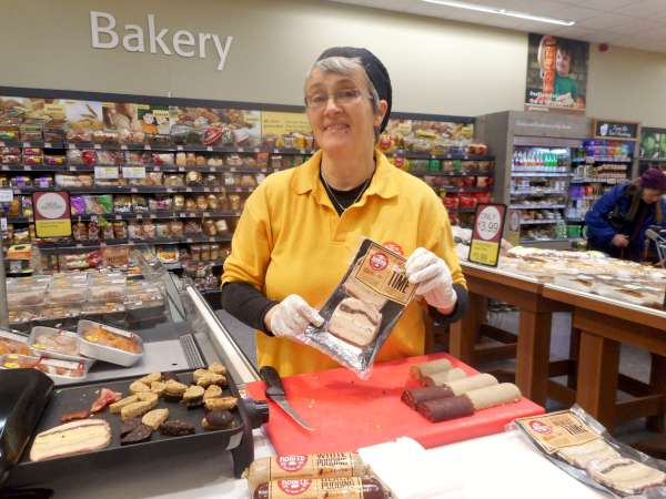 Máire from Ballyvourney at a special promotion stand featuring packaged Breakfast treat which included egg, black and white pudding and sausage in one slice. The display at Supervalu, Millstreet on Thursday is a family-run business. Click on the images to enlarge. (S.R.)