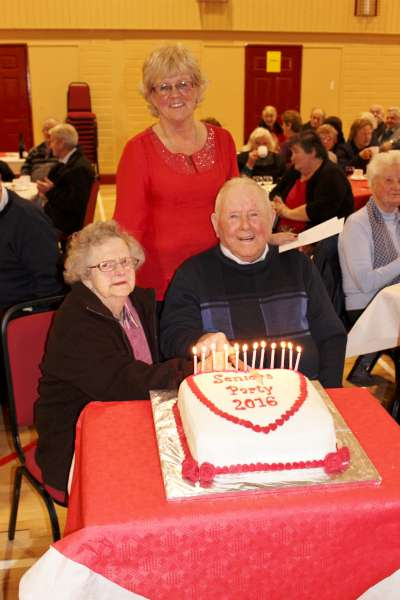 The two most senior people present at Sunday's Dromtariffe Community Centre's Seniors Party 2016 - Julia Dunne, Dysert, Dromagh and Denis O'Leary of Coolclougher, Dromtariffe. Also included is Christine Doyle representing the Organisers of the very popular annual event. Click on the images to enlarge. (S.R.)