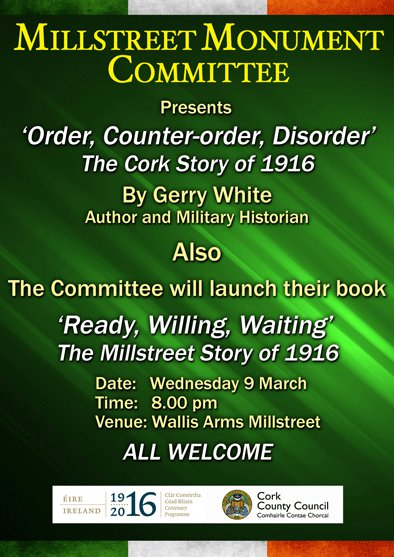 2016-03-09 Millstreet Monumet Commitee - Book Launch - Ready Willing Waiting - poster